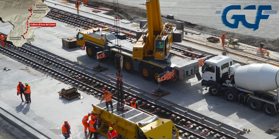 Casting tests for the Ceneri tunnel railway track