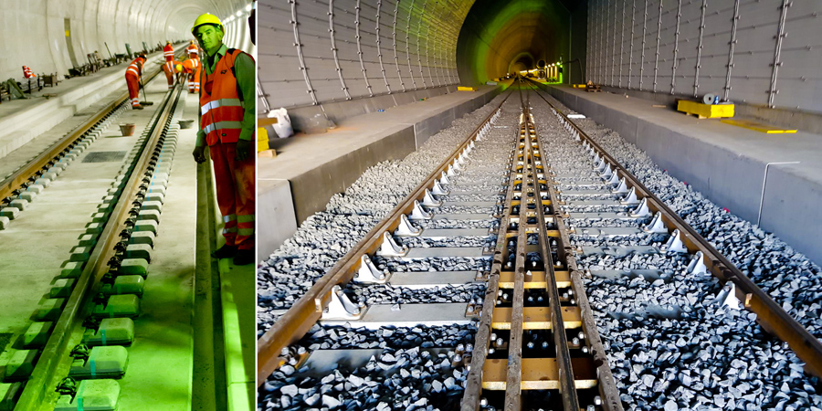 Monte Ceneri Tunnel: track work in east bore completed
