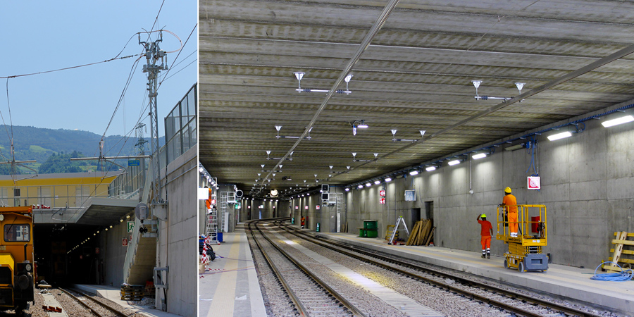 Rigid catenary for Lavis station