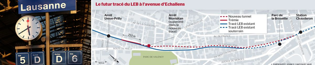 In Lausanne, GCF's tracks and catenary for LEB